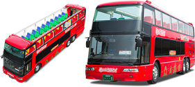 Dynamic open feeling without roof! Open top double decker bus Maple Sky ride capacity: 44 people